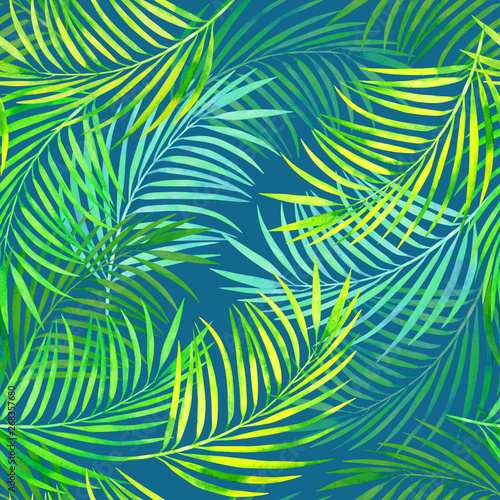 Fotobehang Tropische bladeren seamless pattern of tropical palm leaves on blue cool background, beautiful coconut palm leaves watercolor texture.