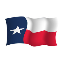 Texas State Waving Flag. Vector Illustration
