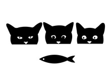 Hungry Cats Are Looking At Fish. Silhouette Of A Cat's Head. Vector Illustration