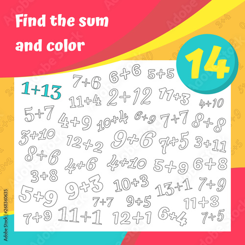Find the sum and color addition worksheet set. Coloring book ...