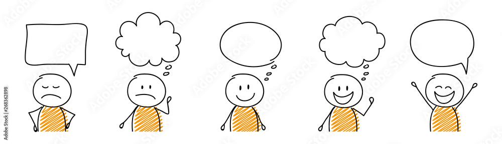 Fototapeta Set of cartoon stickmen with empty speech bubbles. Vector