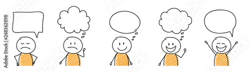 Set of cartoon stickmen with empty speech bubbles. Vector