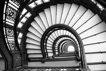 Abstract Geometric Background Of Black And White Spiral Staircase. Art And Architecture. Vintage Design. Stairway To Heaven.