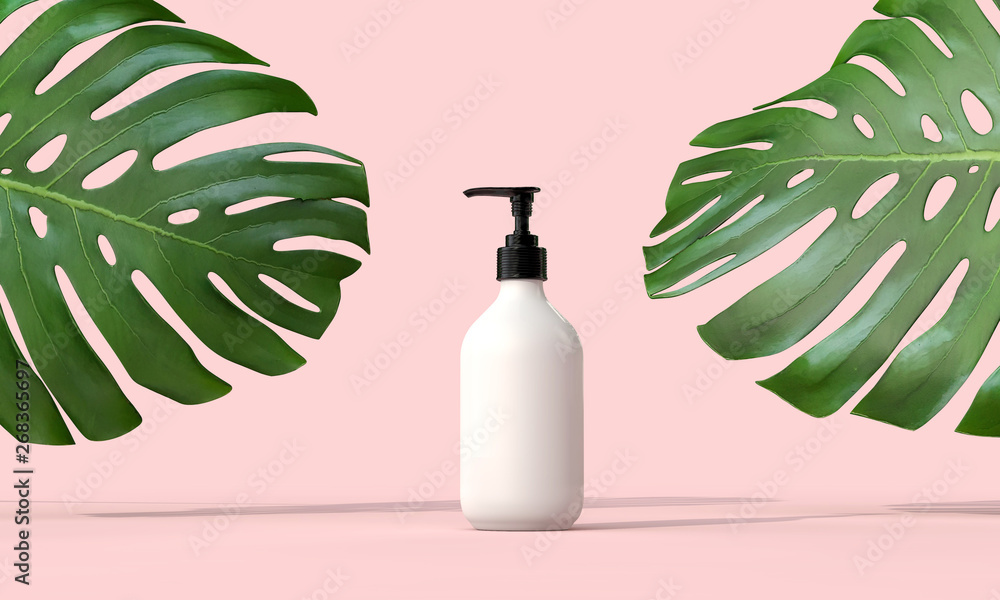 Fototapety, obrazy: Blank white cosmetic bottle with a tropical leaf. 3D Render