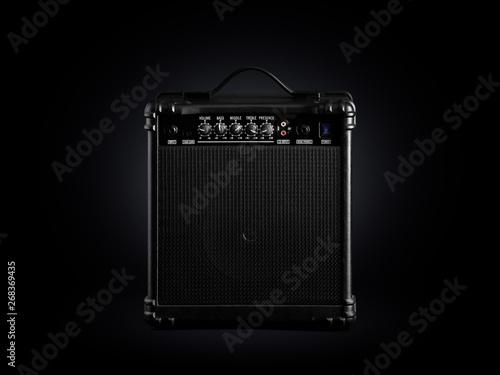 Canvas Black bass guitar amplifier on black background