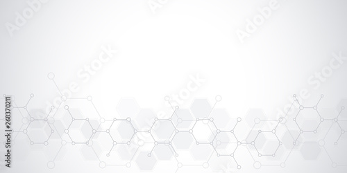 Fototapeta Abstract background of science and innovation technology. Technical background with molecular structures and chemical engineering. obraz