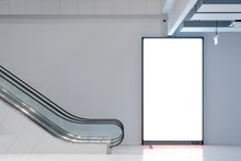 Template Advertising Light Box Blank Area For Your Copy Space And Poster Commercial Promote Area With Escalator Public Space