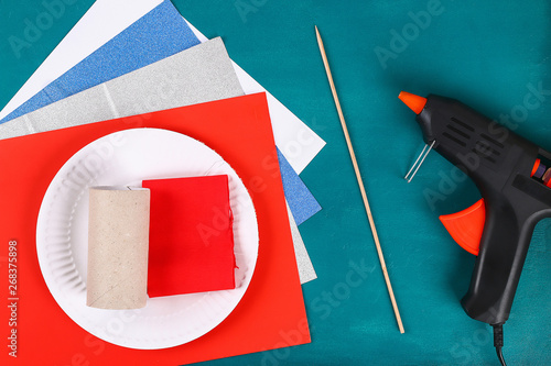 Diy 4th July petard toilet sleeve, paper, cardboard color American flag red blue Canvas-taulu