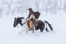 Side View Of Cowgirl Riding Horse During Winter