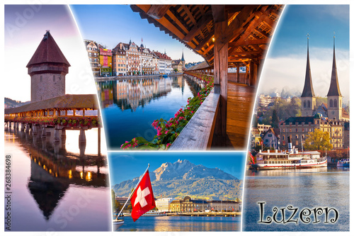 Montage in der Fensternische Lavendel Swiss town of Luzern or Lucerne landmarks tourist postcard view with label