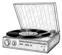 Vinyl Player Illustration, Drawing, Engraving, Ink, Line Art, Vector