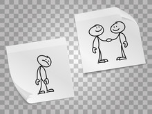 Loneliness, Business Collaboration Vector Concept With Paper Pages And Hand Drawn People. Illustration Of Man Alone, Collaboration Business Teamwork