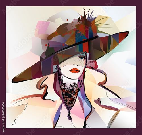 Foto op Plexiglas Art Studio Woman with hat on colorful background