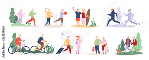 Fototapeta Elderly characters. Grandfather grandmother couple sport tourist tandem cute old granny elderly people outdoor vector isolated set. Illustration of grandfather and grandmother do sport activity obraz