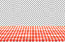 Vector Picnic Table With Red Checkered Pattern Of Linen Tablecloth Isolated On Transparent Background. Illustration Of Tablecloth Red White, Linen Pattern