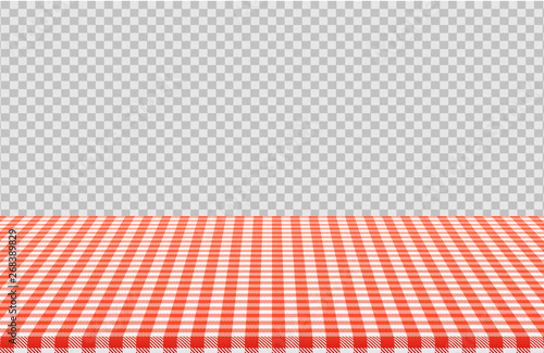 Fotografie, Obraz Vector picnic table with red checkered pattern of linen tablecloth isolated on transparent background