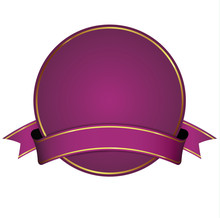 Purple Round Banner With Ribbon On White Background