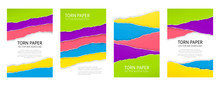 Torn Edge Paper Background Set. Colorful Vector Templates.