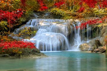 FototapetaErawan Waterfall tier 1, in National Park at Kanchanaburi, Thailand