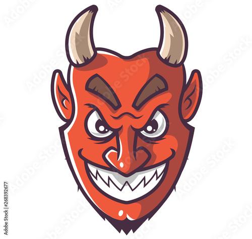 smiling devil face. head from hell. heck Fototapeta