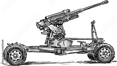 Photo Sketch of an old antiaircraft gun of times of World War II