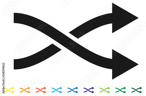 Fotografija  Curved two-way intersecting arrow, color versions included