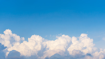 Panorama top of clouds and blue sky background