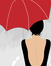 A Woman In A Low-backed Dress Stands Under An Umbrella In A Minimalist Fashion And Beauty Illustration.