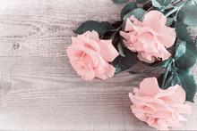 Luxury Pink Roses On Light Woo...