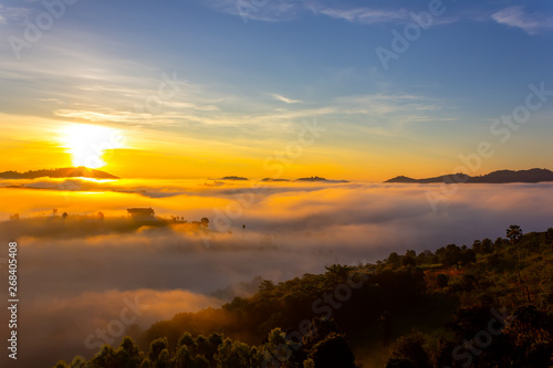 Foto op Aluminium Palermo Beautiful Sunrise and the mist at Khao Kho, Phetchabun Province, Thailand.