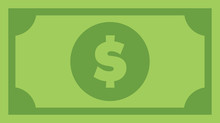 Dollar Bill, Green Currency Banknote, Cash And Money Symbol. Flat Vector Illustration.