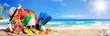 Leinwandbild Motiv Summer Vacation - Accessories On Deck In Tropical Beach