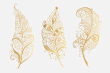 Set Of Golden Vector Design Feathers