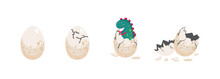 Cute Dinosaur Hatching From An...