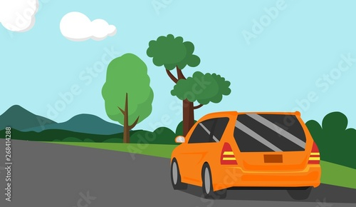 Spoed Foto op Canvas Cartoon cars car vector illustration with mountain view