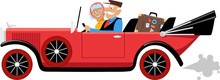 Couple Of Active Seniors Travelling In A Vintage Cabriolet Car, EPS 8 Vector Illustration