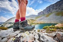 A Young Woman Wearing Hiking B...