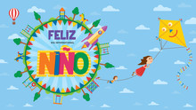 Feliz Dia Del Nino Greeting Card - Happy Children's Day In Spanish Language. Text Inside A Circle Surrounded By Playgrounds And Trees Where Children Fly Flying Subject To The Rope Of A Yellow Kite