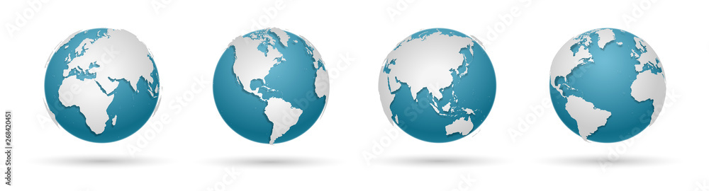 Fototapeta Globe Icon Set - Round World Map Vector Flat