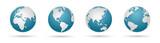 Zestaw ikon świata - okrągłe mapy świata wektor płaskie
