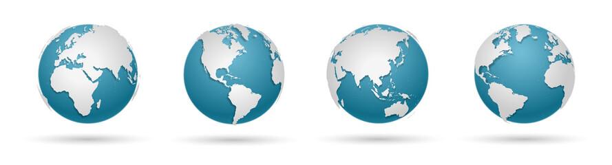 Globe Icon Set - Round World Map Vector Flat