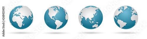 Fotografie, Obraz  Globe Icon Set - Round World Map Vector Flat