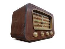 Old Retro Radio Vintage. Old Wooden Retro Style Radio Receiver Vintage Radio, Speaker, Old, Isolated White Background