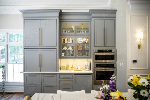Fotomural  Gray Grey modern Kitchen cabinets in a large expensive kitchen