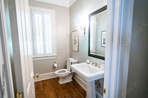Guest bathroom with traditional sink - Buy this stock photo ...