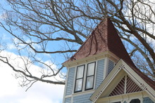 Rooftop Of Old Wooden Historic  Victorian Home