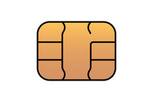 Gold EMV Chip Icon For Bank Plastic Credit Or Debit Charge Card. Vector Illustration