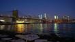 Panoramic view of Brooklyn bridge and Manhattan at sunrise, New York City.