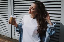 Happy Girl Enjoying Sunny Weather And Coffee