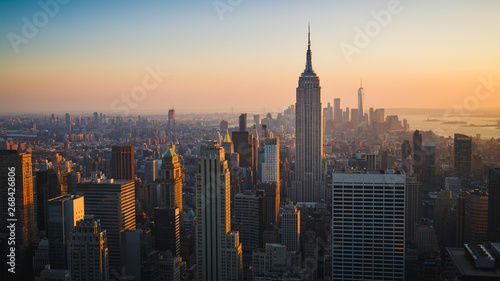 New York City Skyline with Urban Skyscrapers at Sunset, USA Canvas Print